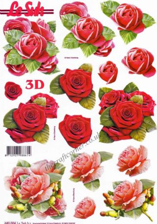 Red Roses Die Cut 3d Decoupage Sheet From Le Suh